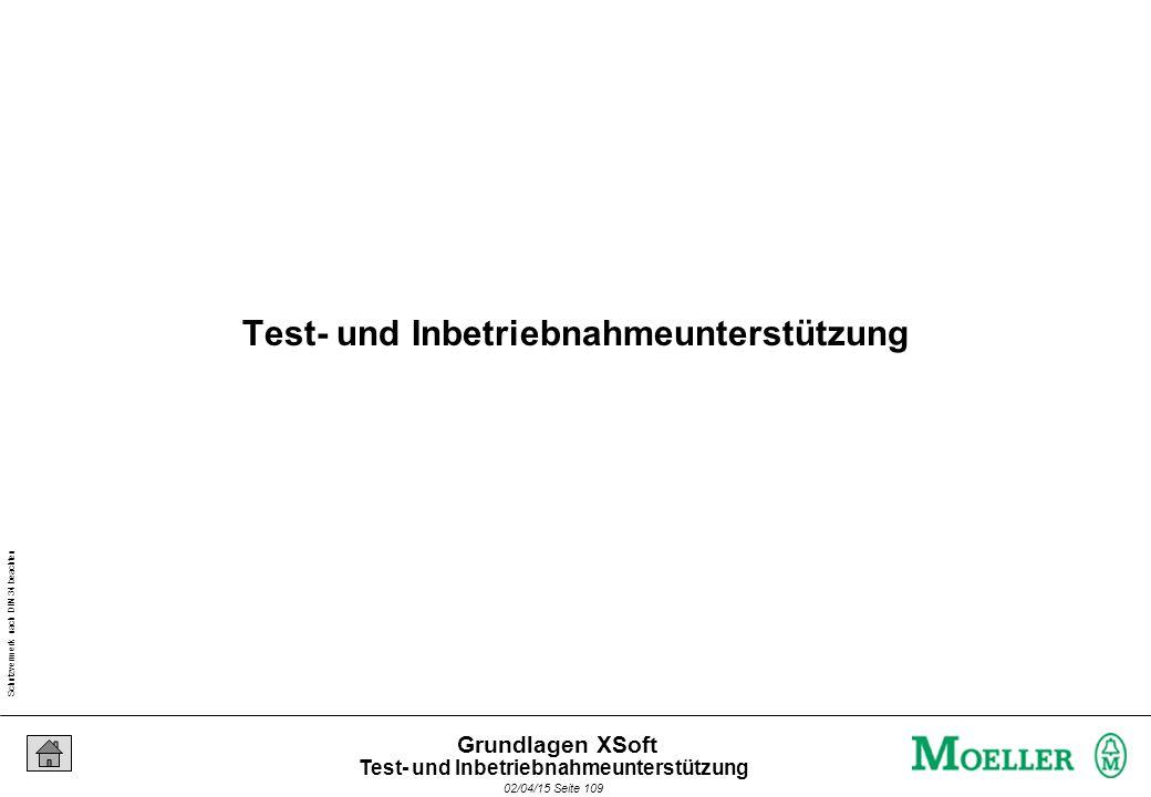 Schutzvermerk nach DIN 34 beachten 02/04/15 Seite 109 Grundlagen XSoft Test- und Inbetriebnahmeunterstützung