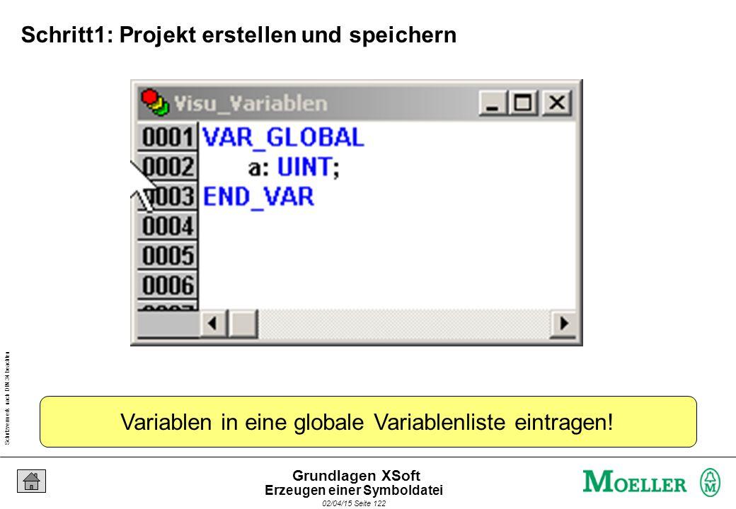 Schutzvermerk nach DIN 34 beachten 02/04/15 Seite 122 Grundlagen XSoft Variablen in eine globale Variablenliste eintragen! Schritt1: Projekt erstellen