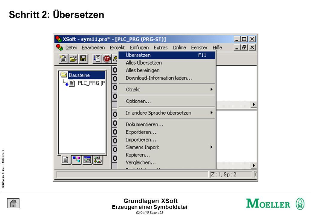 Schutzvermerk nach DIN 34 beachten 02/04/15 Seite 123 Grundlagen XSoft Schritt 2: Übersetzen Erzeugen einer Symboldatei
