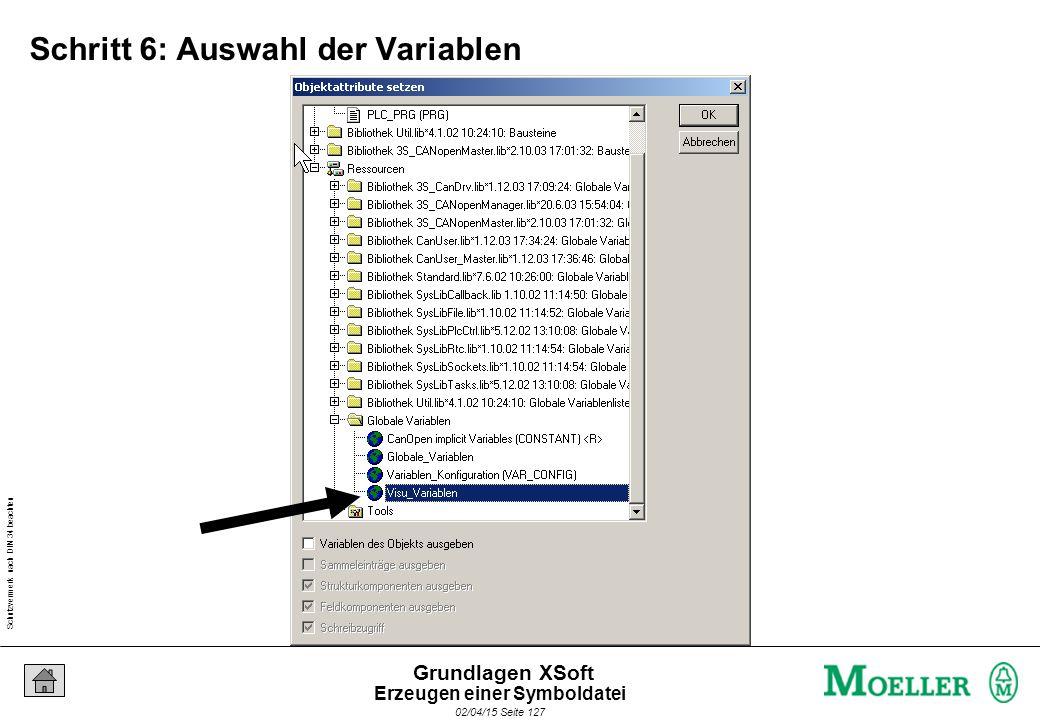 Schutzvermerk nach DIN 34 beachten 02/04/15 Seite 127 Grundlagen XSoft Schritt 6: Auswahl der Variablen Erzeugen einer Symboldatei