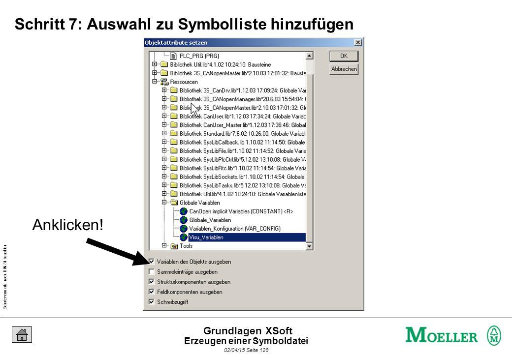 Schutzvermerk nach DIN 34 beachten 02/04/15 Seite 128 Grundlagen XSoft Schritt 7: Auswahl zu Symbolliste hinzufügen Anklicken! Erzeugen einer Symbolda