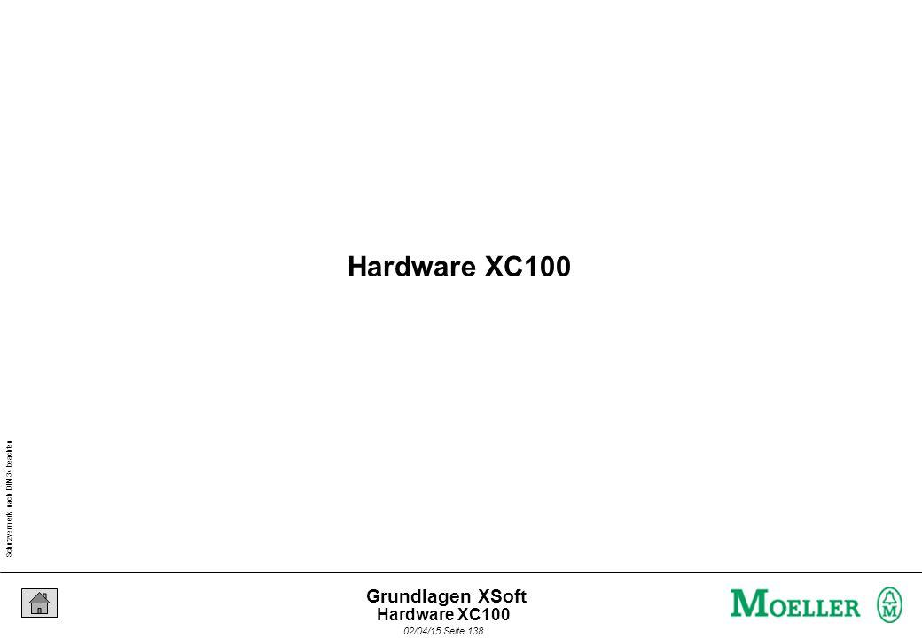 Schutzvermerk nach DIN 34 beachten 02/04/15 Seite 138 Grundlagen XSoft Hardware XC100