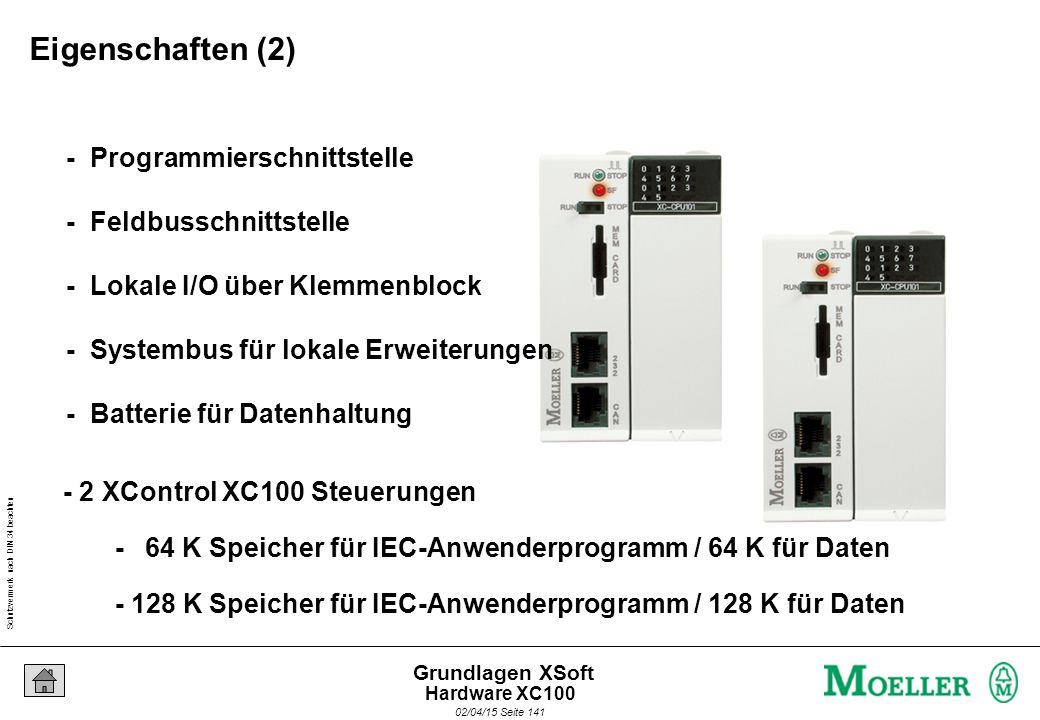 Schutzvermerk nach DIN 34 beachten 02/04/15 Seite 141 Grundlagen XSoft - 2 XControl XC100 Steuerungen - 64 K Speicher für IEC-Anwenderprogramm / 64 K für Daten - 128 K Speicher für IEC-Anwenderprogramm / 128 K für Daten - Programmierschnittstelle - Feldbusschnittstelle - Lokale I/O über Klemmenblock - Systembus für lokale Erweiterungen - Batterie für Datenhaltung Eigenschaften (2) Hardware XC100