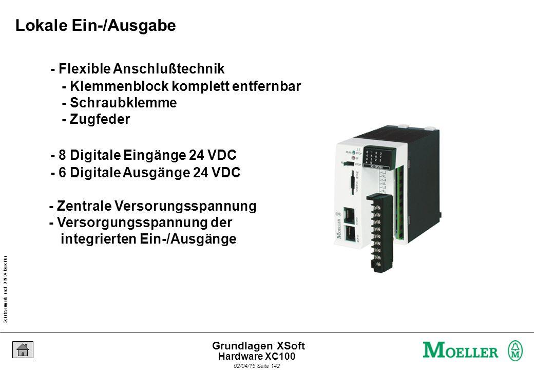 Schutzvermerk nach DIN 34 beachten 02/04/15 Seite 142 Grundlagen XSoft - 8 Digitale Eingänge 24 VDC - 6 Digitale Ausgänge 24 VDC - Flexible Anschlußte
