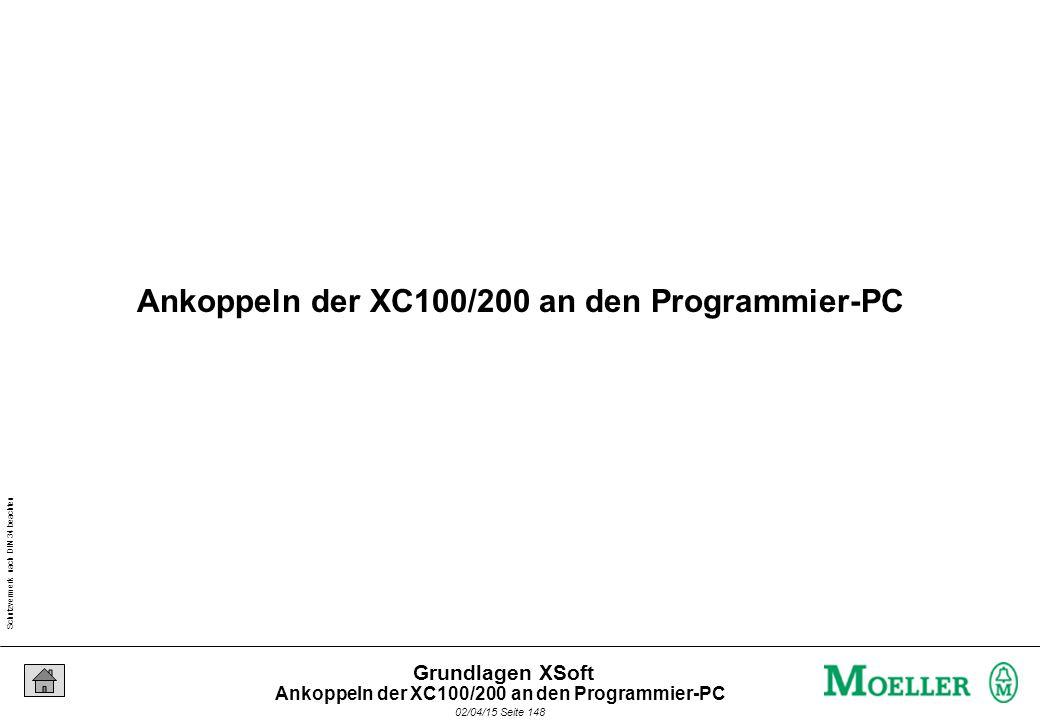 Schutzvermerk nach DIN 34 beachten 02/04/15 Seite 148 Grundlagen XSoft Ankoppeln der XC100/200 an den Programmier-PC