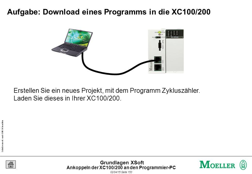 Schutzvermerk nach DIN 34 beachten 02/04/15 Seite 153 Grundlagen XSoft Erstellen Sie ein neues Projekt, mit dem Programm Zykluszähler. Laden Sie diese