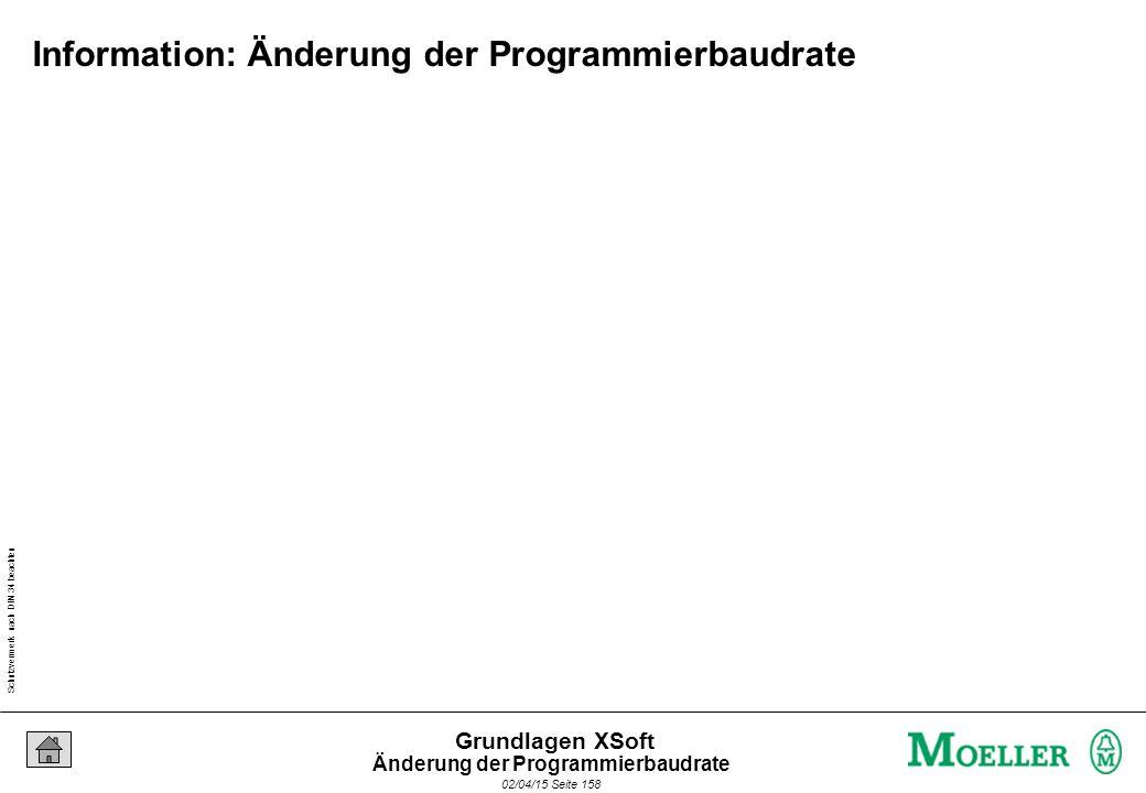 Schutzvermerk nach DIN 34 beachten 02/04/15 Seite 158 Grundlagen XSoft Information: Änderung der Programmierbaudrate Änderung der Programmierbaudrate