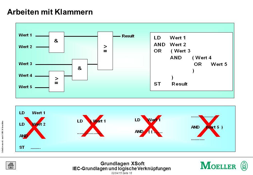 Schutzvermerk nach DIN 34 beachten 02/04/15 Seite 18 Grundlagen XSoft Arbeiten mit Klammern IEC-Grundlagen und logische Verknüpfungen