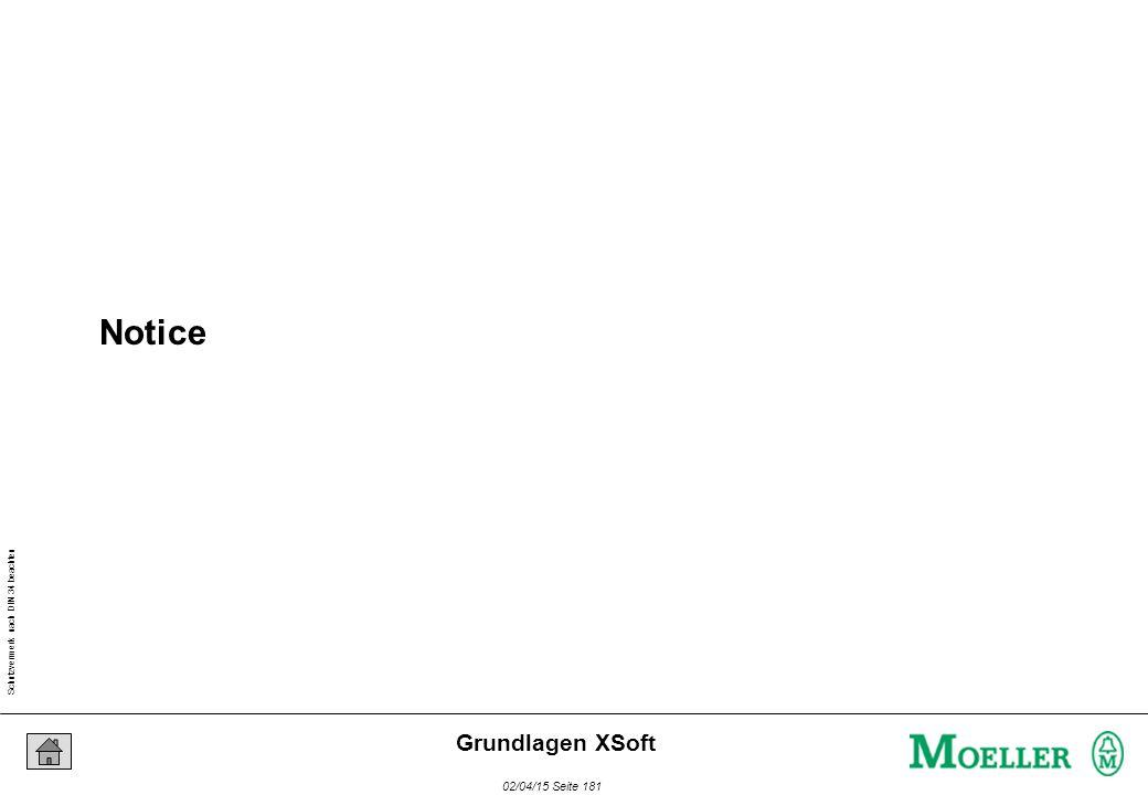 Schutzvermerk nach DIN 34 beachten 02/04/15 Seite 181 Grundlagen XSoft Notice
