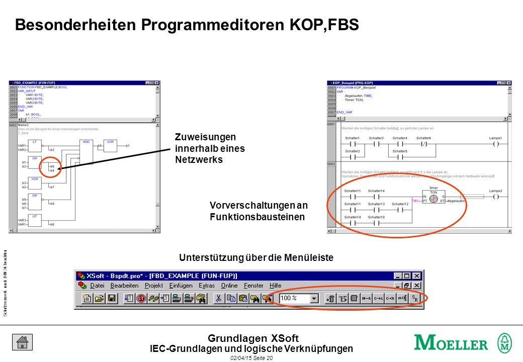 Schutzvermerk nach DIN 34 beachten 02/04/15 Seite 20 Grundlagen XSoft Zuweisungen innerhalb eines Netzwerks Unterstützung über die Menüleiste Vorverschaltungen an Funktionsbausteinen Besonderheiten Programmeditoren KOP,FBS IEC-Grundlagen und logische Verknüpfungen