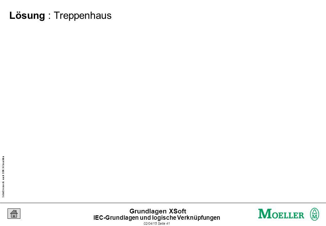 Schutzvermerk nach DIN 34 beachten 02/04/15 Seite 41 Grundlagen XSoft Lösung : Treppenhaus IEC-Grundlagen und logische Verknüpfungen