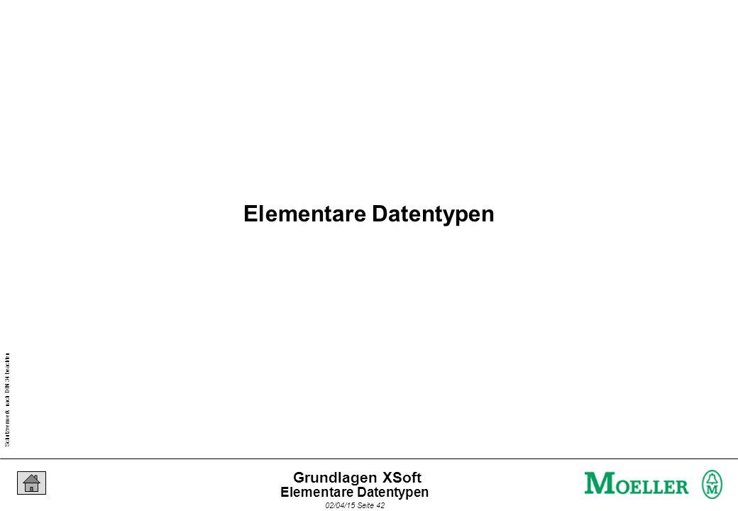Schutzvermerk nach DIN 34 beachten 02/04/15 Seite 42 Grundlagen XSoft Elementare Datentypen