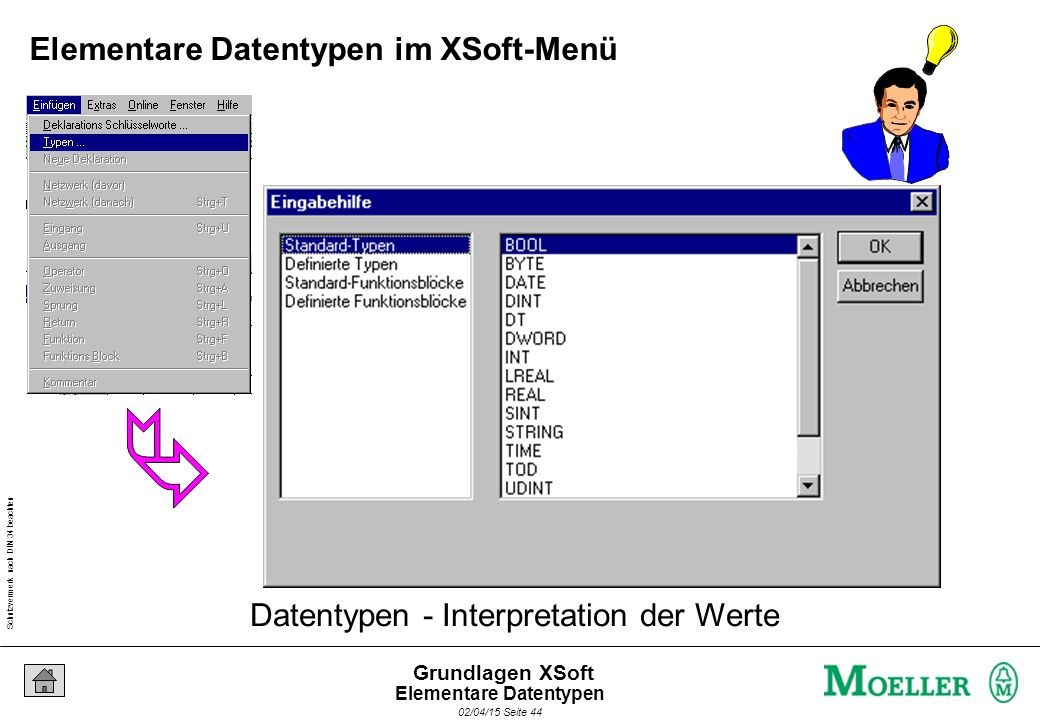 Schutzvermerk nach DIN 34 beachten 02/04/15 Seite 44 Grundlagen XSoft Datentypen - Interpretation der Werte Elementare Datentypen im XSoft-Menü Elementare Datentypen