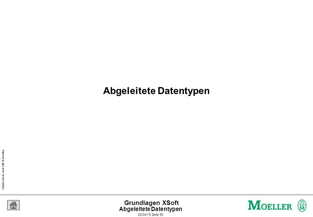 Schutzvermerk nach DIN 34 beachten 02/04/15 Seite 50 Grundlagen XSoft Abgeleitete Datentypen