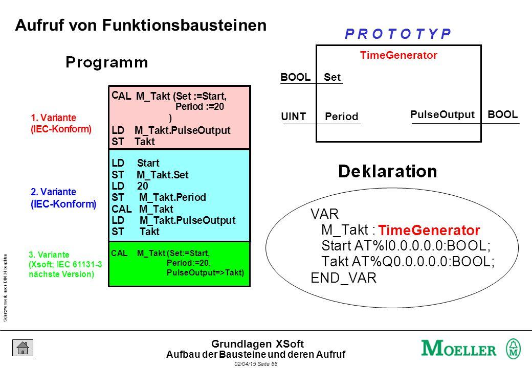 Schutzvermerk nach DIN 34 beachten 02/04/15 Seite 66 Grundlagen XSoft 1. Variante (IEC-Konform) 2. Variante (IEC-Konform) C AL M_Takt (Set :=Start, Pe