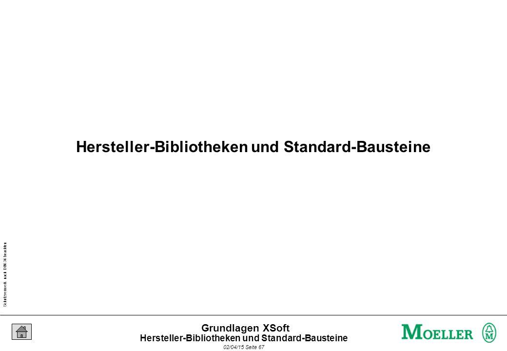 Schutzvermerk nach DIN 34 beachten 02/04/15 Seite 67 Grundlagen XSoft Hersteller-Bibliotheken und Standard-Bausteine