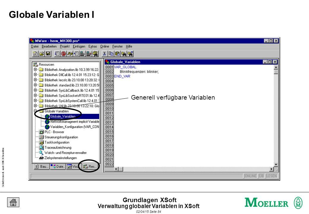 Schutzvermerk nach DIN 34 beachten 02/04/15 Seite 84 Grundlagen XSoft Generell verfügbare Variablen Globale Variablen I Verwaltung globaler Variablen