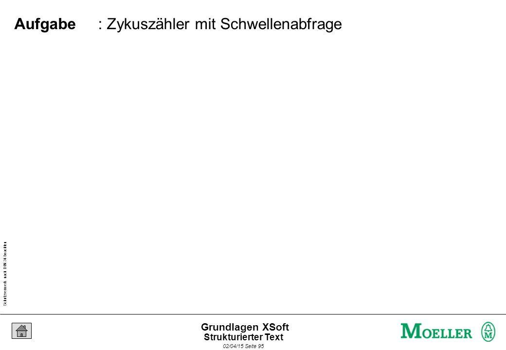 Schutzvermerk nach DIN 34 beachten 02/04/15 Seite 95 Grundlagen XSoft : Zykuszähler mit Schwellenabfrage Aufgabe Strukturierter Text