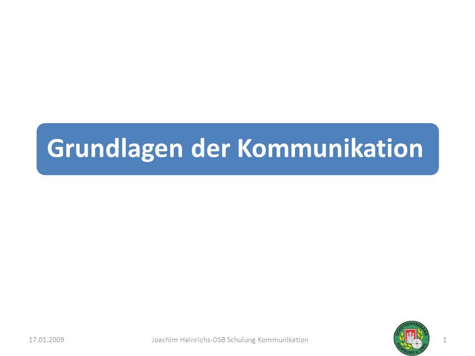 Unter Kommunikation versteht man … das Senden und Empfangen von Informationen zwischen Lebewesen Das Senden geschieht durch Zeichen, wie Sprache, Körpersprache, Bilder und Schrift Die Botschaften müssen zum vollständigen Empfang sowohl wahrgenommen als auch verstanden werden Durch die Haltung des Körpers, das Verhalten eines Menschen, seine Gestik und Mimik werden Informationen vermittelt, die auf einen bestimmten Sachverhalt schließen lassen 17.01.2009Joachim Heinrichs-DSB Schulung Kommunikation2