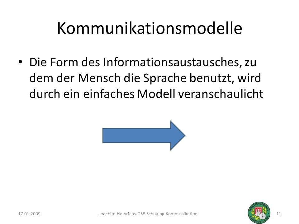 Kommunikationsmodelle Die Form des Informationsaustausches, zu dem der Mensch die Sprache benutzt, wird durch ein einfaches Modell veranschaulicht 17.