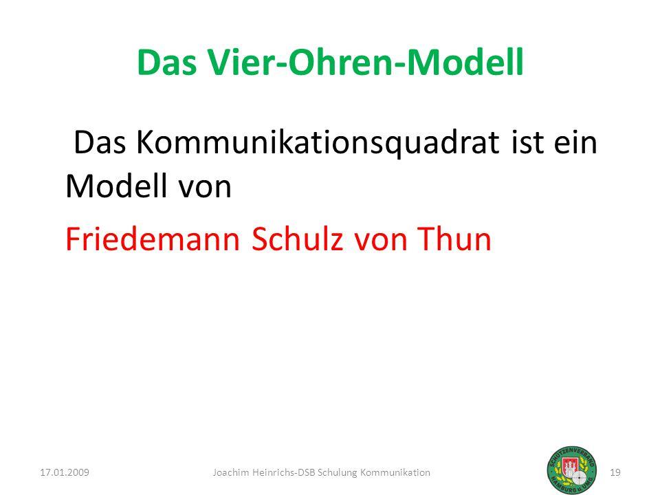 Das Vier-Ohren-Modell Das Kommunikationsquadrat ist ein Modell von Friedemann Schulz von Thun 17.01.200919Joachim Heinrichs-DSB Schulung Kommunikation