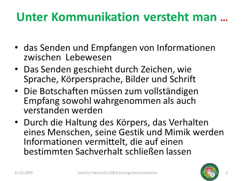 17.01.20093Joachim Heinrichs-DSB Schulung Kommunikation