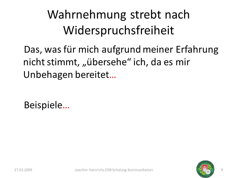 17.01.200920Joachim Heinrichs-DSB Schulung Kommunikation