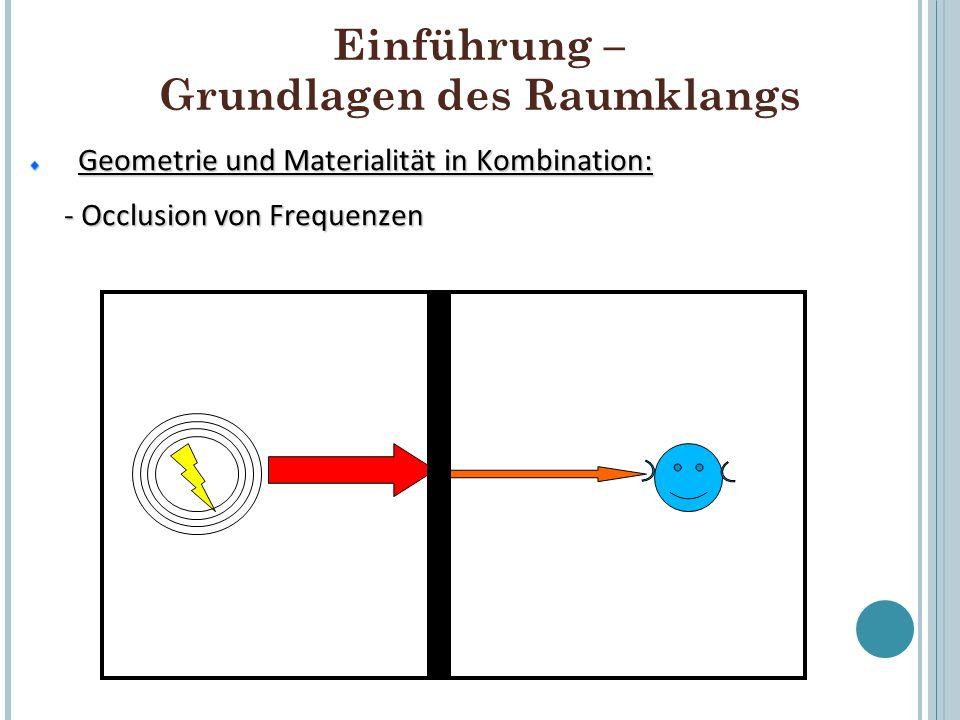 Einführung – Grundlagen des Raumklangs Geometrie und Materialität in Kombination: Geometrie und Materialität in Kombination: - Occlusion von Frequenze