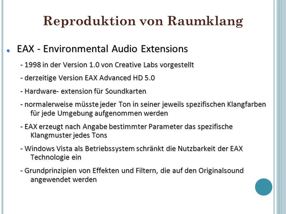 Reproduktion von Raumklang EAX - Environmental Audio Extensions - 1998 in der Version 1.0 von Creative Labs vorgestellt - derzeitige Version EAX Advan