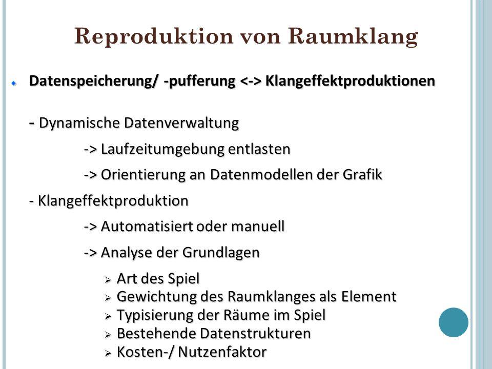 Reproduktion von Raumklang Datenspeicherung/ -pufferung Klangeffektproduktionen - Dynamische Datenverwaltung -> Laufzeitumgebung entlasten -> Orientie