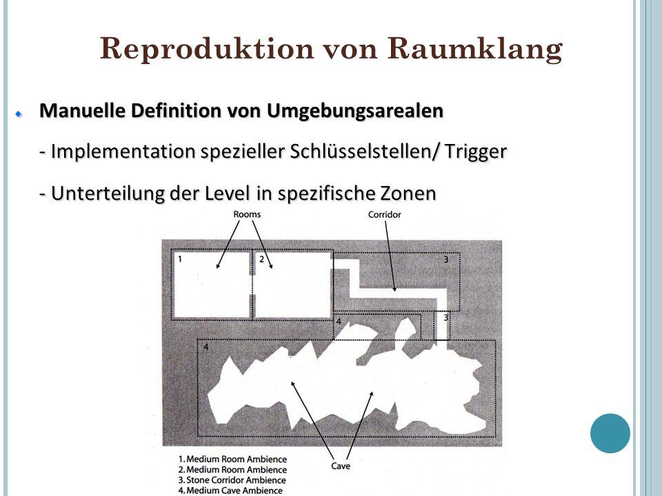 Reproduktion von Raumklang Manuelle Definition von Umgebungsarealen - Implementation spezieller Schlüsselstellen/ Trigger - Unterteilung der Level in
