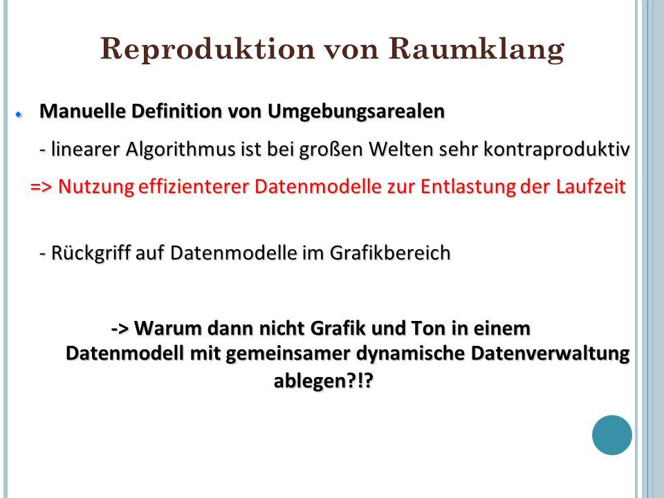 Reproduktion von Raumklang Manuelle Definition von Umgebungsarealen - linearer Algorithmus ist bei großen Welten sehr kontraproduktiv => Nutzung effiz