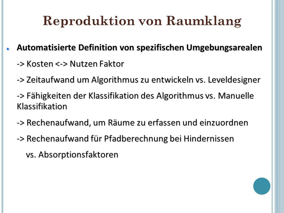 Reproduktion von Raumklang Automatisierte Definition von spezifischen Umgebungsarealen -> Kosten Nutzen Faktor -> Zeitaufwand um Algorithmus zu entwic
