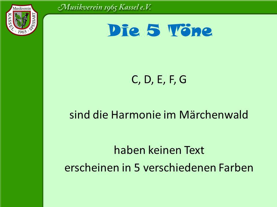 C, D, E, F, G sind die Harmonie im Märchenwald haben keinen Text erscheinen in 5 verschiedenen Farben Die 5 Töne