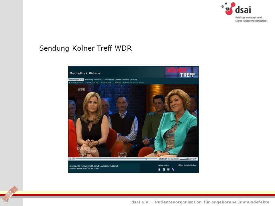 dsai e.V. – Patientenorganisation für angeborene Immundefekte 11 Sendung Kölner Treff WDR