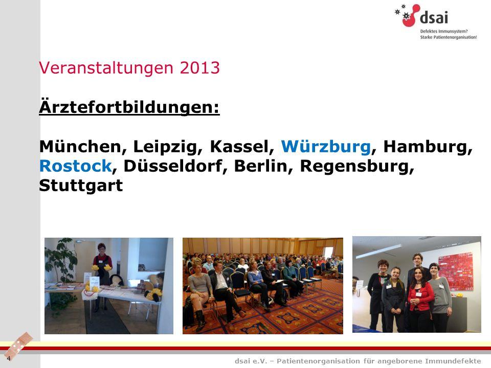 Veranstaltungen 2013 Ärztefortbildungen: München, Leipzig, Kassel, Würzburg, Hamburg, Rostock, Düsseldorf, Berlin, Regensburg, Stuttgart 4