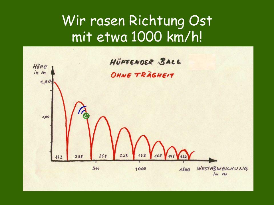 Wir rasen Richtung Ost mit etwa 1000 km/h!