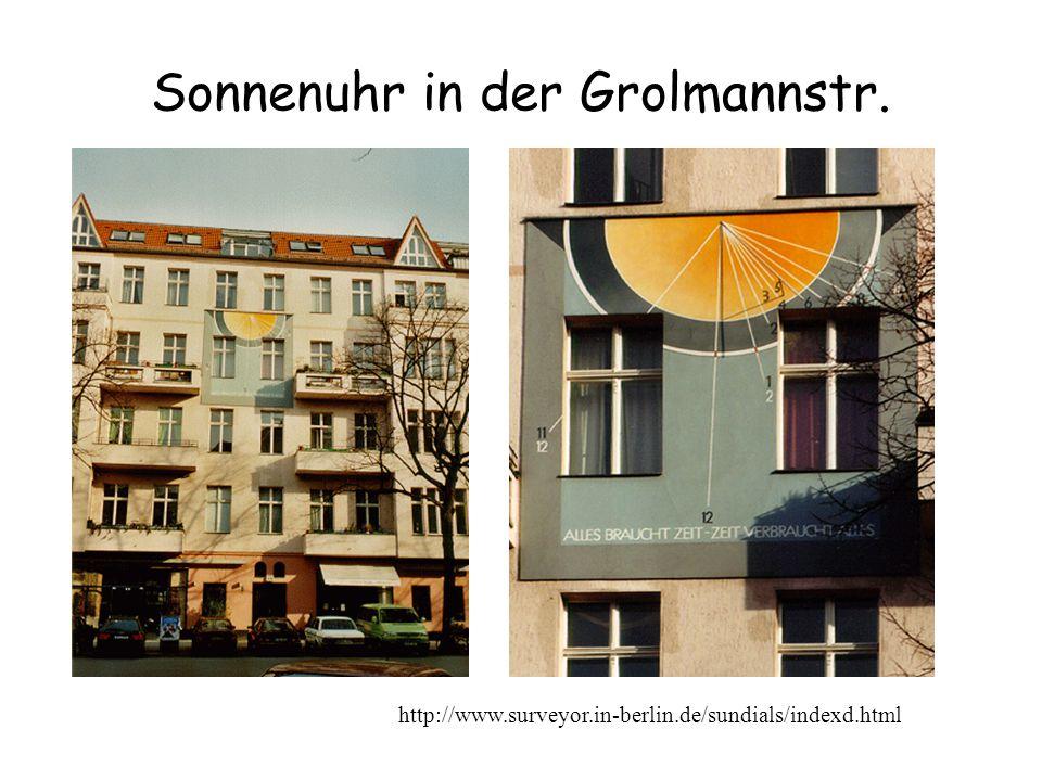Sonnenuhr in der Grolmannstr. http://www.surveyor.in-berlin.de/sundials/indexd.html
