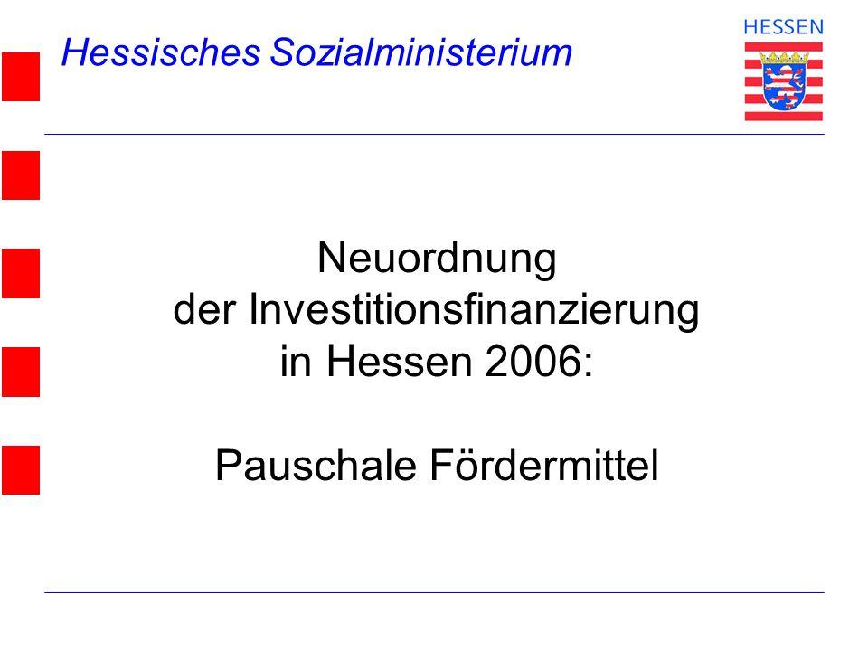 Hessisches Sozialministerium © 2004 Neuordnung der Investitionsfinanzierung in Hessen 2006: Pauschale Fördermittel