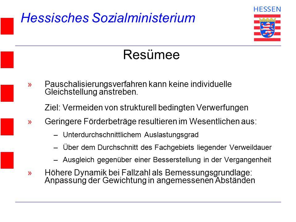 Hessisches Sozialministerium © 2004 Resümee »Pauschalisierungsverfahren kann keine individuelle Gleichstellung anstreben. Ziel: Vermeiden von struktur