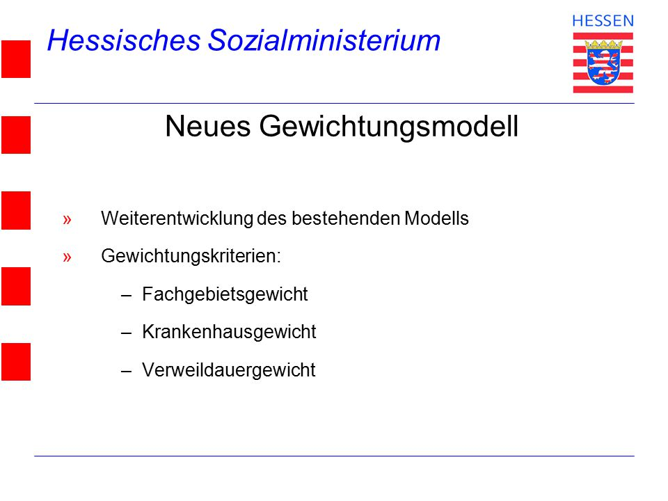 Hessisches Sozialministerium © 2004 Neues Gewichtungsmodell »Weiterentwicklung des bestehenden Modells »Gewichtungskriterien: –Fachgebietsgewicht –Krankenhausgewicht –Verweildauergewicht
