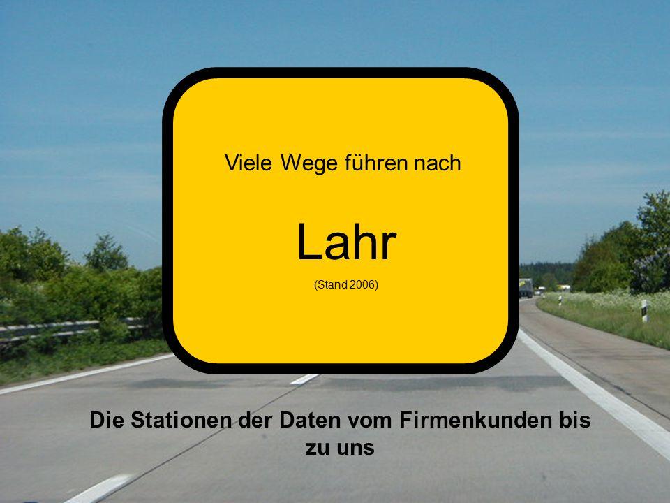 Viele Wege führen nach Lahr (Stand 2006) Die Stationen der Daten vom Firmenkunden bis zu uns
