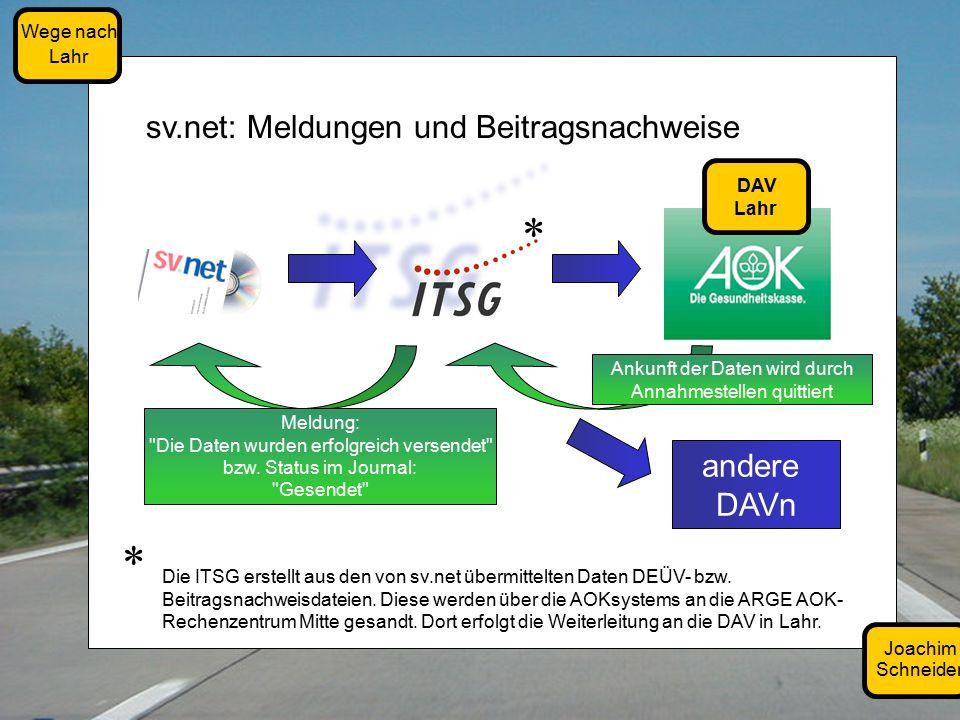 Joachim Schneider Wege nach Lahr sv.net: Meldungen und Beitragsnachweise DAV Lahr andere DAVn Ankunft der Daten wird durch Annahmestellen quittiert Meldung: Die Daten wurden erfolgreich versendet bzw.
