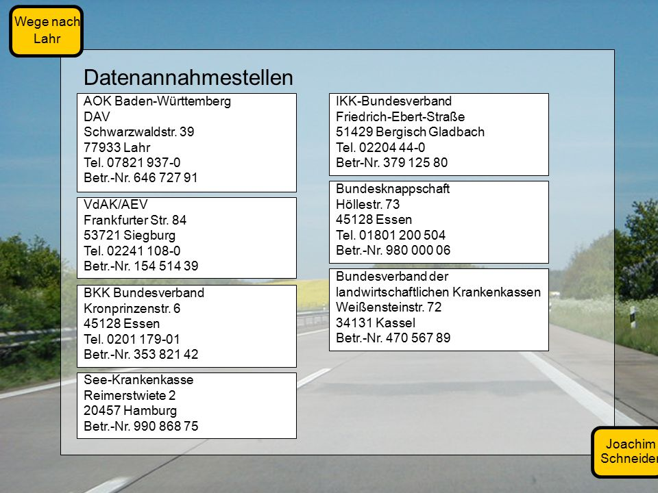 Joachim Schneider Wege nach Lahr Bundesknappschaft Höllestr.