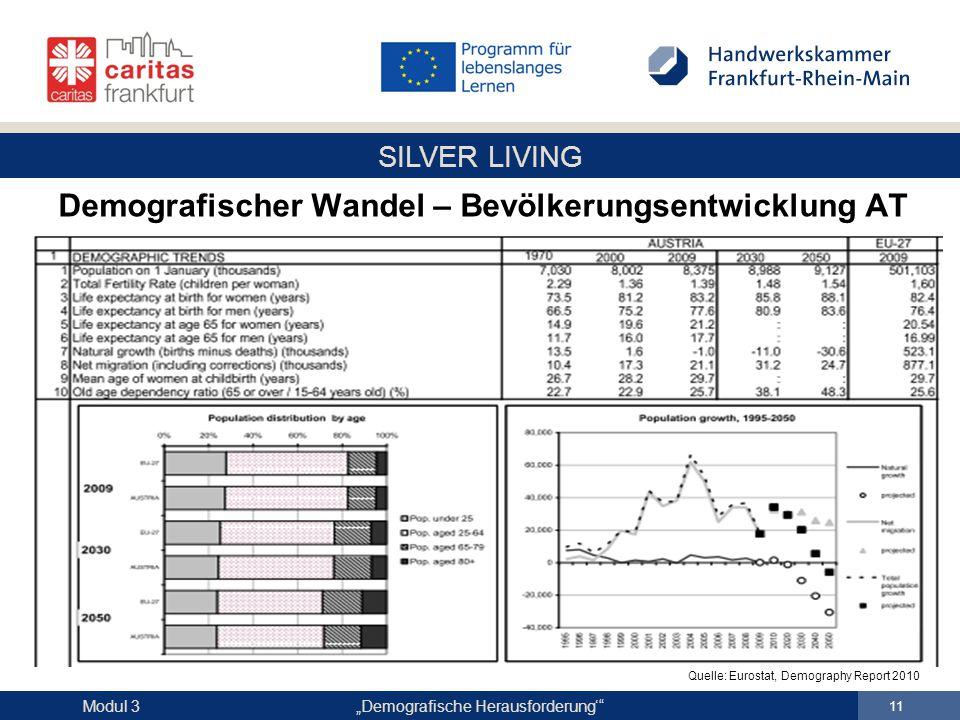 "SILVER LIVING ""Demografische Herausforderung'"" 11 Modul 3 Demografischer Wandel – Bevölkerungsentwicklung AT Quelle: Eurostat, Demography Report 2010"