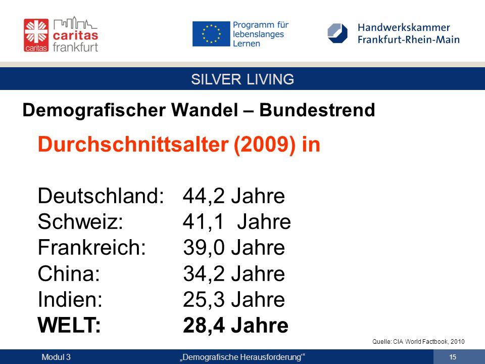 """SILVER LIVING """"Demografische Herausforderung'"""" 15 Modul 3 Demografischer Wandel – Bundestrend Durchschnittsalter (2009) in Deutschland:44,2 Jahre Schw"""