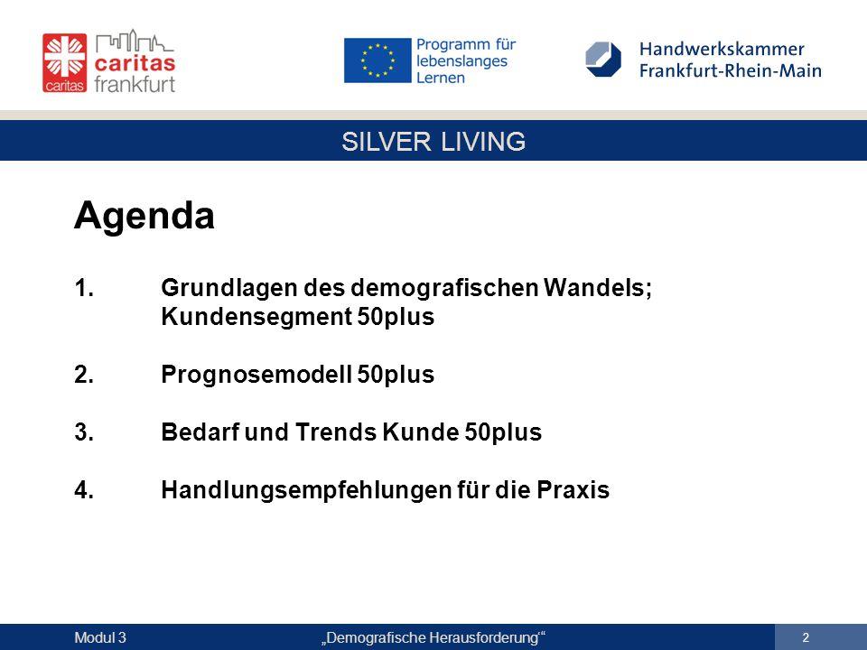 """SILVER LIVING """"Demografische Herausforderung' 23 Modul 3 Prognosemodell 50plus Beispiel Kassel – Bevölkerungsentwicklung Quelle: Statistisches Landesamt Hessen, Bevölkerungsvorausberechnung 2006"""