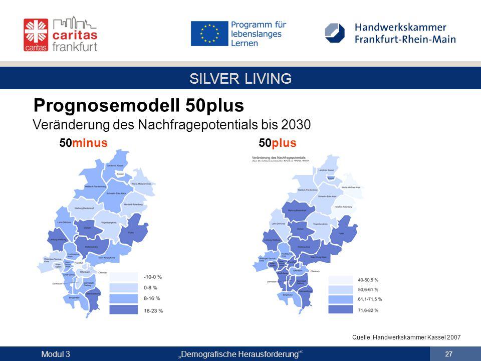 """SILVER LIVING """"Demografische Herausforderung'"""" 27 Modul 3 Prognosemodell 50plus Veränderung des Nachfragepotentials bis 2030 50minus 50plus Quelle: Ha"""