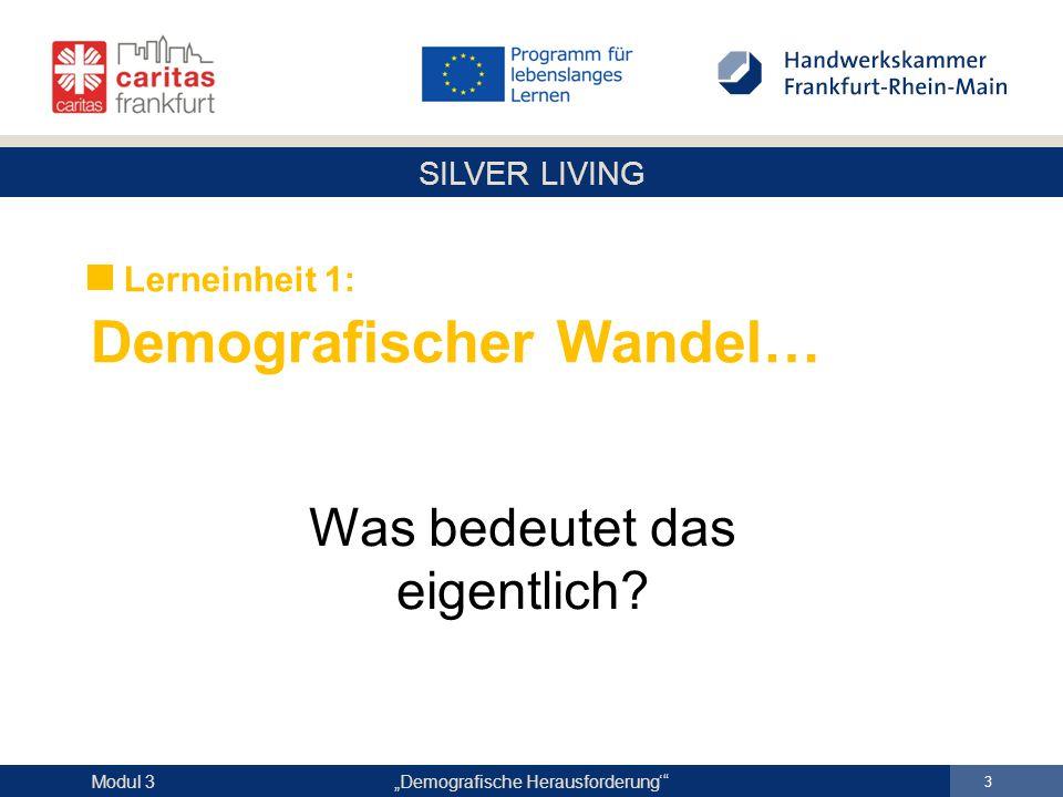 """SILVER LIVING """"Demografische Herausforderung' 14 Modul 3 Demografischer Wandel – Bundestrend Anteil 50 Jahre und älter 1950 = 14 % 2000 = 23 % 2050 = 39 % Quelle: Statistisches Bundesamt"""