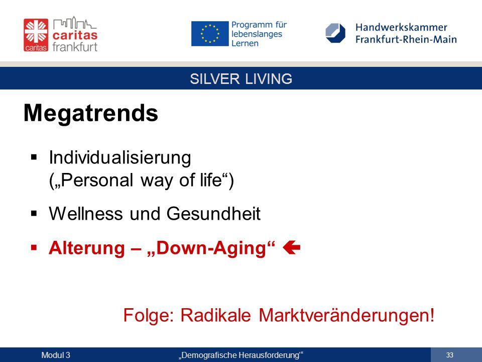 """SILVER LIVING """"Demografische Herausforderung'"""" 33 Modul 3  Individualisierung (""""Personal way of life"""")  Wellness und Gesundheit  Alterung – """"Down-A"""